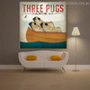 Three Pugs Animal Modern Typography Painting Canvas Print for Room Wall Decor