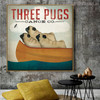 Three Pugs Animal Modern Typography Painting Canvas Print for Room Wall Trimming