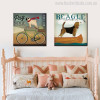 Pug Beagle Animal Botanical Modern Typography Painting Canvas Print for Kids Room Wall Outfit