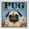 Pug Animal Botanical Modern Typography Painting Canvas Wall Art