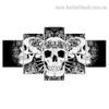 Abstract Skulls Illustration Modern Framed Effigy Image Canvas Print