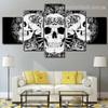 Abstract Skulls Illustration Modern Framed Effigy Photo Canvas Print for Room Wall Decor