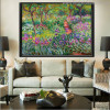 The Iris Garden at Giverny Botanical Impressionist Reproduction Oscar Claude Monet Painting Canvas Print for Living Room Wall Getup