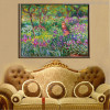 The Iris Garden at Giverny Botanical Impressionist Reproduction Oscar Claude Monet Painting Canvas Print for Room Wall Outfit