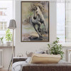 Running Horse Abstract Animal Modern Oil Painting Canvas Print for Lounge Room Wall Decor