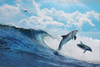 Two Dolphins Nature Seascape Animal Picture Canvas Print