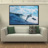 Two Dolphins Nature Seascape Animal Picture Canvas Print for Lounge Room Wall Drape