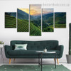 Green Hills Botanical Landscape Modern Framed Effigy Pic Canvas Print for Room Wall Flourish