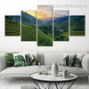Green Hills Botanical Landscape Modern Framed Effigy Picture Canvas Print for Room Wall Drape