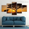 Rumbling Elephant Animal Landscape Modern Framed Painting Picture Canvas Print for Room Wall Decoration