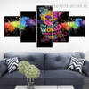Cute Dog Animal Watercolor Typography Modern Framed Effigy Picture Canvas Print for Room Wall Decor