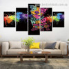 Cute Dog Animal Watercolor Typography Modern Framed Effigy Pic Canvas Print for Room Wall Drape