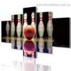 Ten Pin Bowling Abstract Sports Modern Framed Portraiture Pic Canvas Print