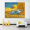 The Siesta Vincent Van Gogh Impressionist Landscape Reproduction Painting Canvas Print for Living Room Wall Outfit