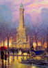 Winter at the Water Tower Cityscape Reproduction Painting Canvas Print