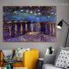 Starry Night over the Rhone Vincent Willem Van Gogh Landscape Figure Impressionism Artwork Photo Canvas Print for Room Wall Garniture