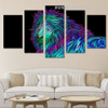 3D Lion Abstract Animal Large Split Canvas Portraiture Image Print For Room Wall Decor