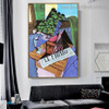 A Pot of Geraniums Juan Gris Still Life Synthetic Cubism Reproduction Portrait Photo Canvas Print for Room Wall Garniture