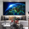 Earth in Space Nature Modern Picture Canvas Print for Living Room Wall Outfit