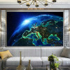 Earth in Space Nature Modern Picture Canvas Print for Room Wall Decor