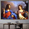 Jesus and the Samaritan Woman at the Well Guercino Botanical Figure Landscape Baroque Reproduction Artwork Picture Canvas Print for Room Wall Garniture
