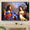 Jesus and The Samaritan Woman at the Well Guercino Botanical Figure Landscape Baroque Reproduction Artwork Painting Canvas Print for Room Wall Decoration