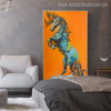Blue Horse Animal Contemporary Canvas Artwork Print for Room Wall Equipment