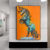 Blue Horse Animal Contemporary Canvas Artwork Print for Wall Drape