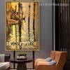 Venise ET Le Lido City Landscape Vintage Retro Advertisement Portrait Photo Canvas Print for Room Wall Adornment