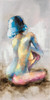 Short Hair Lady Abstract Watercolor Figure Nude Canvas Portrayal Print