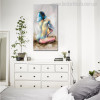 Short Hair Lady Abstract Watercolor Figure Nude Canvas Portrayal Print for Wall Decor