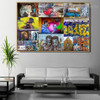 Friends Collage Abstract Figure Graffiti Portrait Photo Canvas Print for Room Wall Garniture
