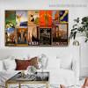Napoli Collage Botanical Figure Landscape Vintage Advertisement Poster Artwork Picture Canvas Print for Room Wall Garniture