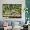 The Japanese Bridge Oscar Claude Monet Botanical Landscape Impressionism Reproduction Portrait Image Canvas Print for Room Wall Garnish