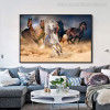 White Horses Modern Animal Painting Print for Living Room Wall Decor