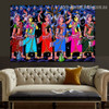 Gopi Dancing Botanical Figure Religious Traditional Artwork Photo Canvas Print for Room Wall Ornament