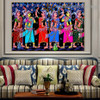 Gopi Dancing Botanical Figure Religious Traditional Artwork Image Canvas Print for Room Wall Adornment