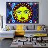Madhubani Sun Art Botanical Bird Abstract Traditional Portrait Picture Canvas Print for Room Wall Decoration