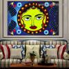Madhubani Sun Art Botanical Bird Abstract Traditional Portrait Painting Canvas Print for Room Wall Ornament