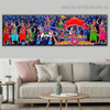 Radha Krishna Leela Religious Figure Animal Traditional Artwork Image Canvas Print for Room Wall Drape