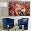 Radha Krishna Religious Traditional Artwork Image Canvas Print for Room Wall Decoration
