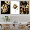 Monstera Golden Leaves Botanical Nordic Framed Artwork Portrait Canvas Print for Room Wall Garniture