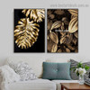 Golden Plant Foliage Botanical Nordic Framed Portrait Picture Canvas Print for Room Wall Drape