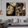Golden Plant Foliage Botanical Nordic Framed Portrait Image Canvas Print for Room Wall Garnish