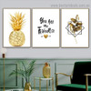 Resplendent Pineapple Quote Botanical Nordic Framed Artwork Picture Canvas Print for Room Wall Decor
