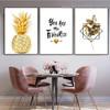 Resplendent Pineapple Quote Botanical Nordic Framed Artwork Photo Canvas Print for Room Wall Flourish