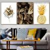Golden Leaflet Botanical Nordic Framed Portrait Picture Canvas Print for Room Wall Decoration
