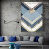 Abstract Blue Geometric Modern Framed Portrait Image Canvas Print for Room Wall Decoration