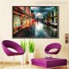 Town Street Lovely Cityscape Modern Canvas Artwork Print for Room Wall Decor