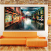 Town Street Lovely Cityscape Modern Canvas Artwork Print for Room Wall Onlay